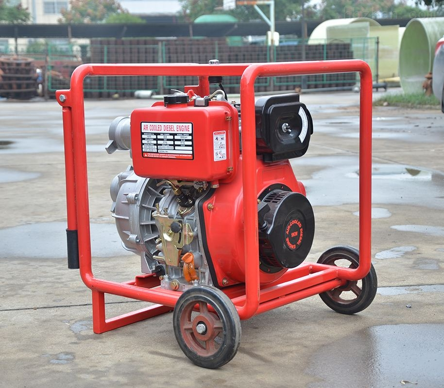 红色移动式双动力消防泵