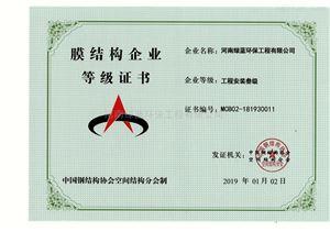 膜结构企业登记证书