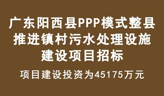 廣東陽西縣PPP模式整縣推進鎮村汙水處理項目招標