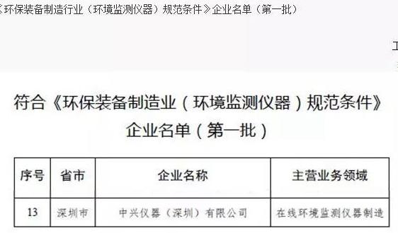 """中兴仪器上榜首批符合 """"环保装备制造业(环境监测仪器)规范条件""""企业名单"""