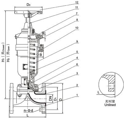 常闭式气动隔阀G6B41J结构图