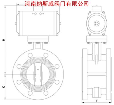 D641X气动软密封法兰蝶阀结构图