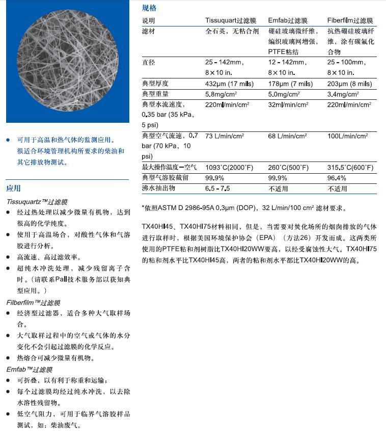 TX40HI20WW-7221 PallFLEX玻璃纤维汽车尾气检测膜-玻璃纤维滤膜