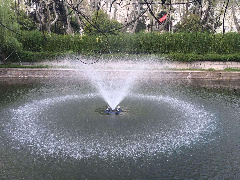 喷泉曝气机河道治理现场效果